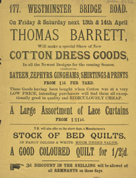 Advert for Thomas Barrett, clothiers